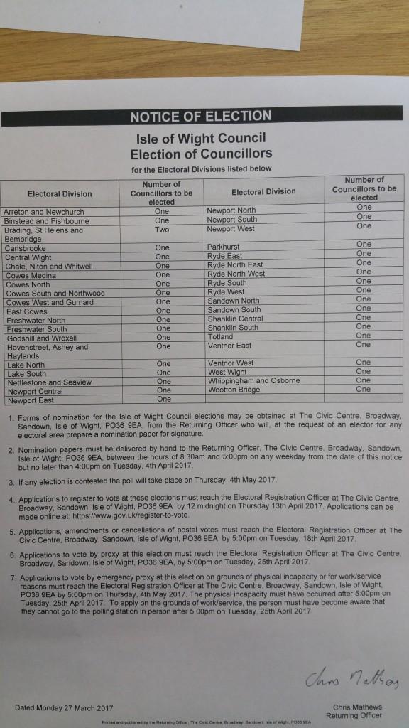 IOW Council Election